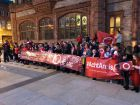 Irish language community takes to the streets as the Guildhall Derry turns RED in support of Irish language Act
