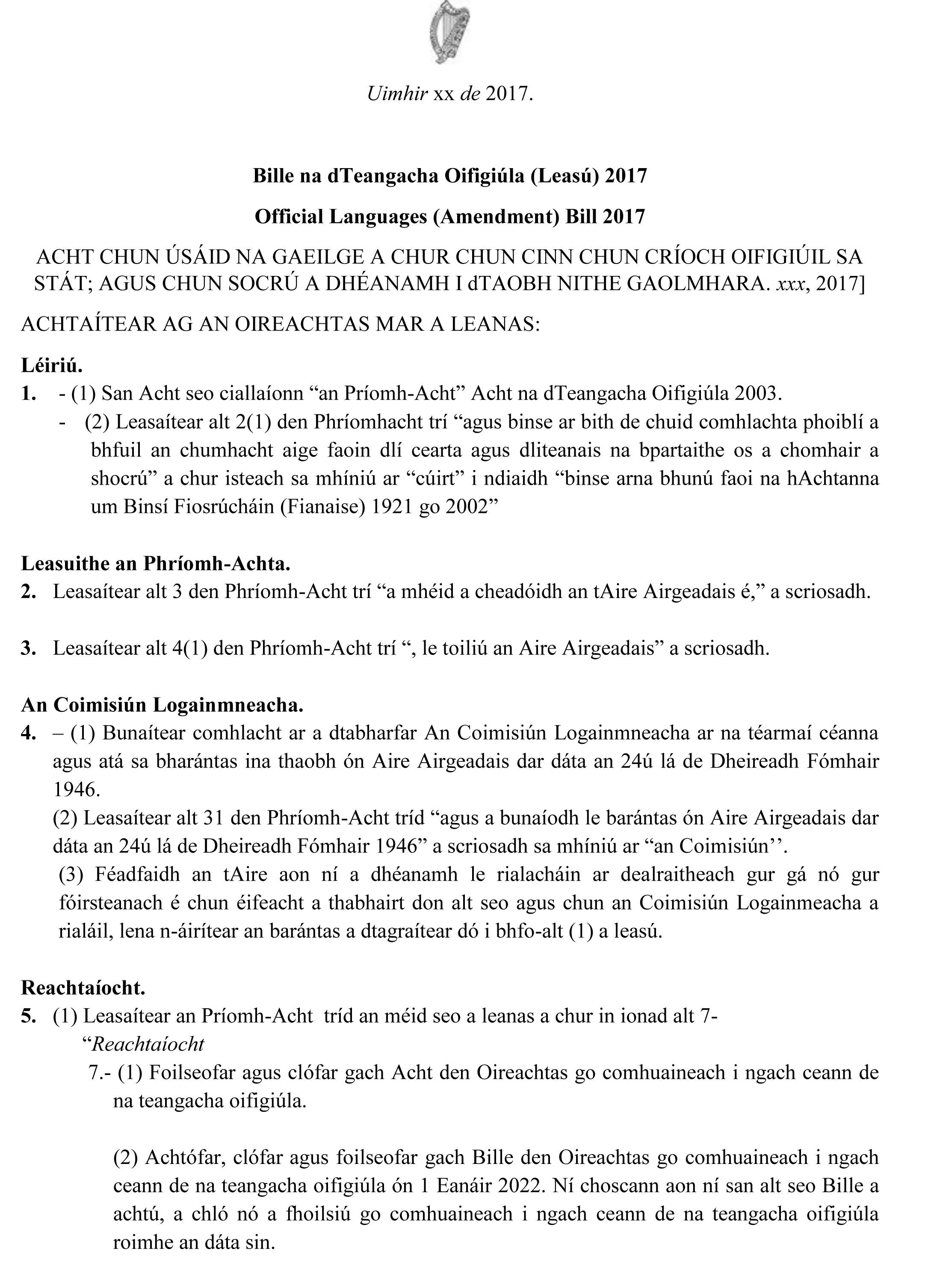Official Languages Bill, 2017 | Conradh na Gaeilge's Proposed Amendments
