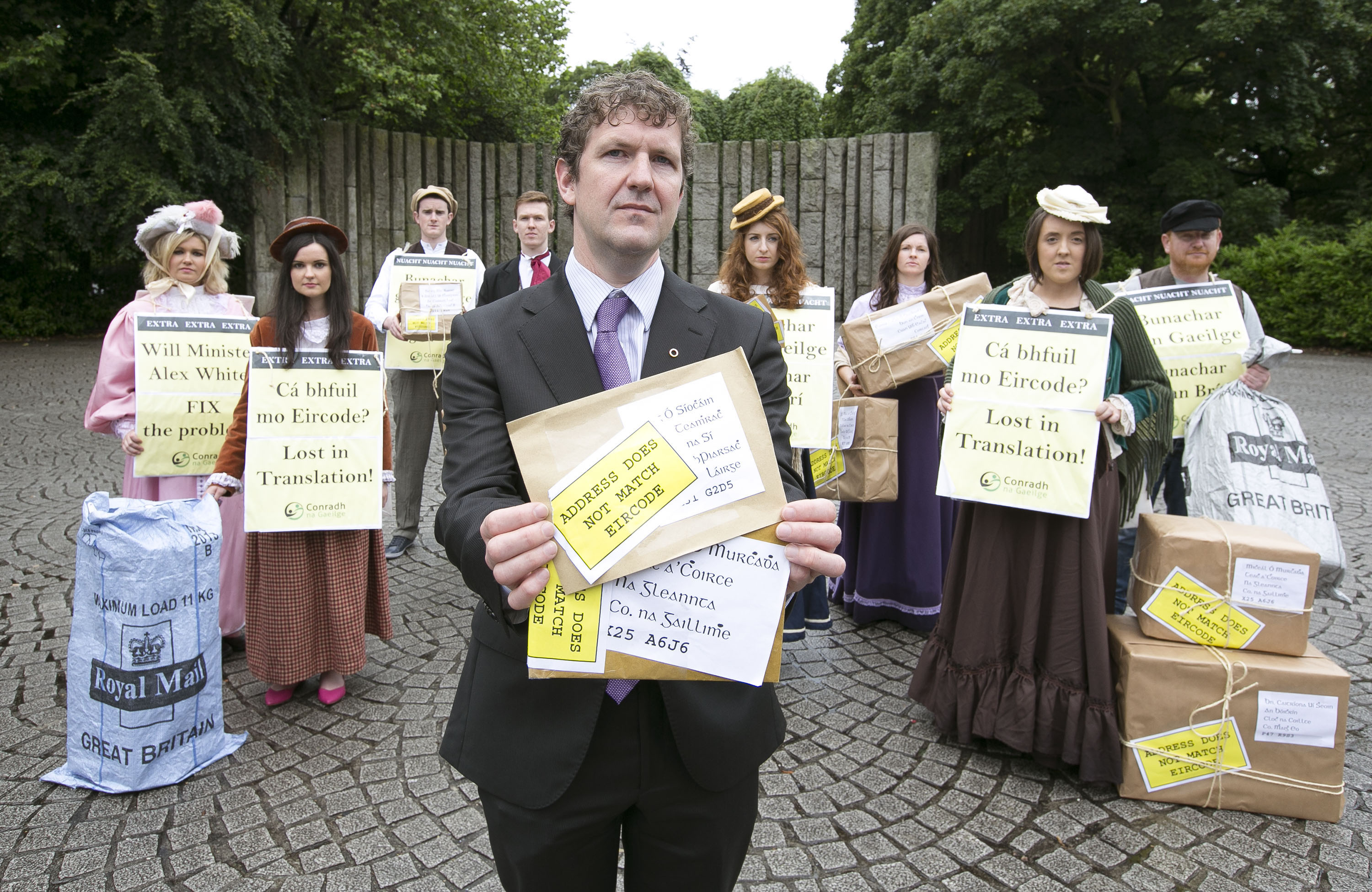 Conradh na Gaeilge protest at the launch of Eircode